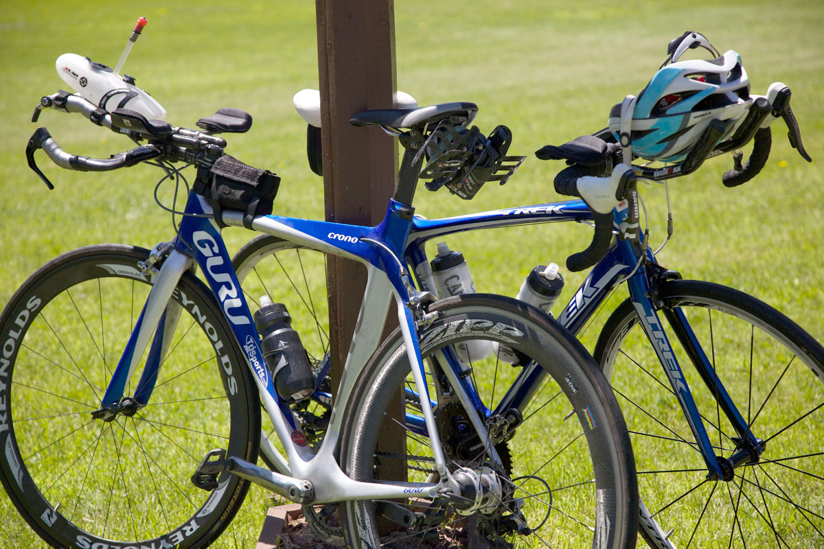 Triathlete Bicycles Locked To Pole