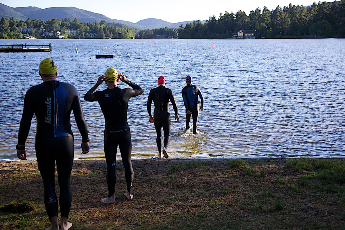 Triathlete Group Lake Placid Wet Suit Training